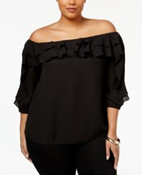 Inc International Concepts Plus Size Ruffled Off The Shoulder Top Only At Macy's Black