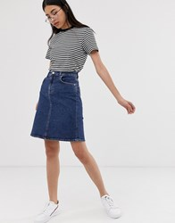 Selected Femme A Line Stretch Denim Skirt Blue