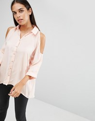 Ax Paris Cold Shoulder Shirt Blush Pink