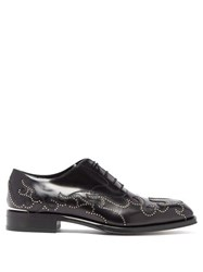 Alexander Mcqueen Stud Flame Leather Oxford Shoes Black