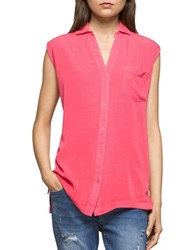 Ck Calvin Klein Solid Spread Collar Top Teaberry