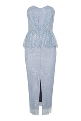 Topshop Bandeau Lace Peplum Midi Dress Pale Blue