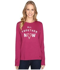 Life Is Good All Together Now Long Sleeve Crusher Tee Wild Plum Women's Long Sleeve Pullover Burgundy