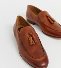 Hudson H By Wide Fit Bolton Tassel Loafers In Brown Leather