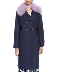 Lela Rose Double Breasted Coat With Detachable Fur Collar Navy