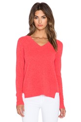 White Warren Ribbed Panel V Neck Sweater Coral