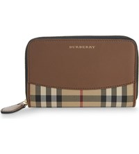 Burberry Marston Horseferry Check Leather Wallet Tan