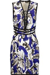Roberto Cavalli Lace Up Printed Pique Mini Dress Multi