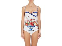 Dolce And Gabbana Women's Floral Tile Print One Piece Swimsuit White Blue Yellow Pink Red Green No Color