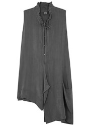 Crea Concept Grey Washed Cupro Tunic Dark Grey