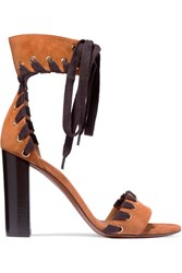 Chloe Whipstitched Suede Sandals Tan