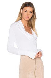 Bobi Modal Thermal Cowl Neck Long Sleeve Top White