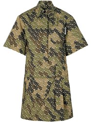 Burberry Short Sleeve Monogram Print Shirt Dress Green