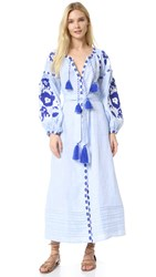 March11 Maxi Dress With Flower Pixel Embroidery Blue