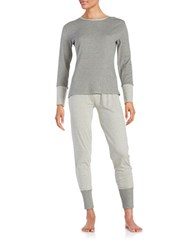 Splendid Cotton Blend Sleep Shirt And Pants Set Grey