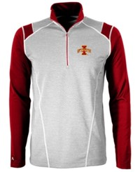 Antigua Men's Iowa State Cyclones Automatic Quarter Zip Pullover Gray Cardinal Red