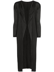 Issey Miyake Pleats Please By Pleated Open Coat Black