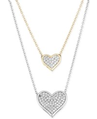 Macy's Diamond Double Heart Pendant Necklace 1 4 Ct. T.W. In 10K Yellow And White Gold