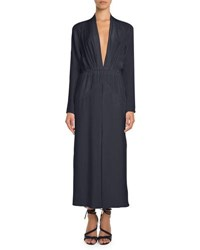 Pascal Millet Plunging Long Sleeve Ankle Length Silk Dress Navy