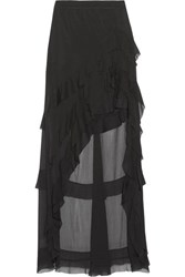 Alice Olivia Lavera Asymmetric Ruffled Georgette Maxi Skirt Black