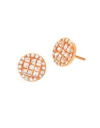 Crislu Florettes Cubic Zirconia Nd 18K Rose Goldplated Sterling Silver Disc Stud Earrings