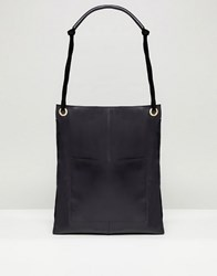 Asos Design Leather Vintage Shopper With Front Pocket Black