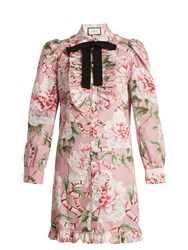 Gucci Floral Print Stretch Cotton Shirtdress Pink Multi