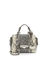 Versace Snake Embossed Leather Mini Satchel Grey Tan