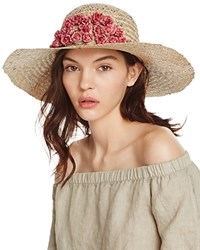 Aqua Straw Floppy Sun Hat With Rosette Trim 100 Exclusive Natural Pink
