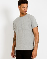 The Idle Man Long Line Pocket T Shirt With Stepped Hem Grey