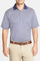 Peter Millar 'Classic Stripe' Egyptian Cotton Lisle Polo Patriot Navy White