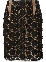 Lanvin Floral Lace Skirt Black