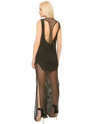 Alexandre Vauthier Layered Fishnet And Crepe Dress