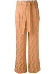 Etro Drawstring Checked Cropped Trousers Brown