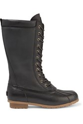 Australia Luxe Collective Havea Shearling Lined Leather And Rubber Rain Boots Black