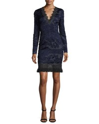 Elie Tahari Camden Long Sleeve Lace Dress Navy
