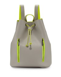Neiman Marcus Neon Contrast Drawstring Backpack Light Gray Yellow