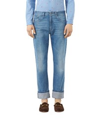 Gucci Blue Jeans With Web Stone Wash