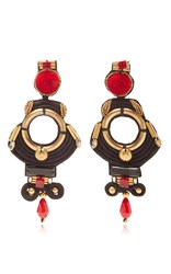 Ranjana Khan Red Pom Drop Earrings