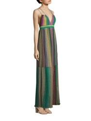 M Missoni Multicolored Striped Plisse Dress Brown