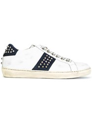 Leather Crown Studded Lace Up Sneakers White