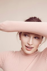 Anthropologie Hilde Ribbed Turtleneck Medium Pink