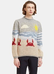 Thom Browne Beachside Jacquard Mohair Knit Sweater Grey