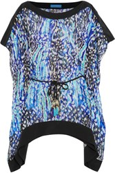Matthew Williamson Akita Animal Leopard Print Silk Chiffon Kaftan Bright Blue