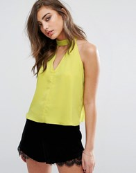 Miss Selfridge Halter Neck Keyhole Top Chartreuse Green