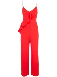 Alice Olivia Keeva Ruffled Jumpsuit Red