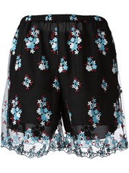 Philosophy Di Lorenzo Serafini Embroidered Sheer Layer Shorts Black
