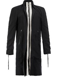Cedric Jacquemyn Zip Up Contrast Coat Men Cotton Linen Flax Polyester Viscose 52 Black