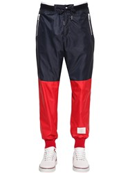 Thom Browne Two Tone Nylon Ripstop Track Pants Red Blue