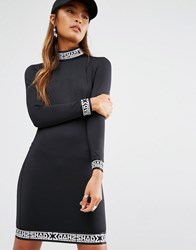 Shade London High Neck Dress With Tape Detail Cuffs In Bodycon Black